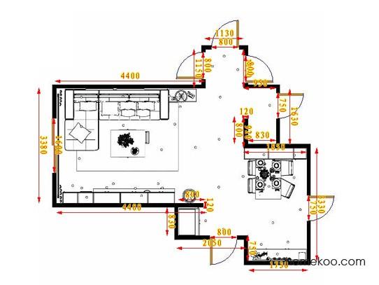 平面布置图柏俪兹系列客厅D16869