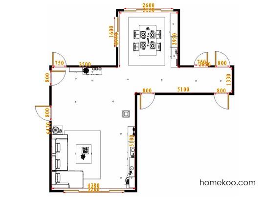 平面布置图挪威月色客餐厅G17206