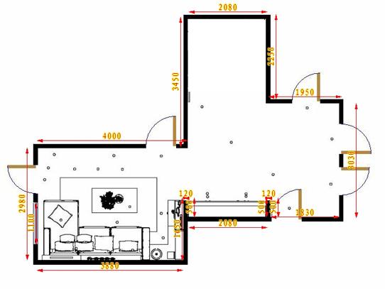 平面布置图贝斯特系列客厅D16875