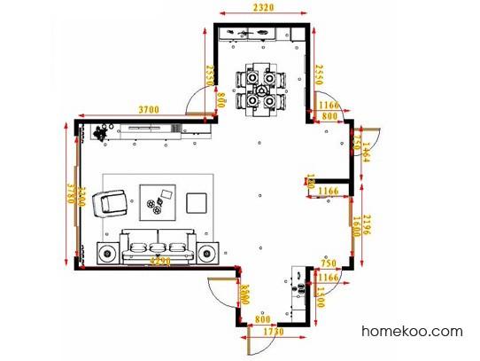 平面布置图贝斯特系列客餐厅G17250
