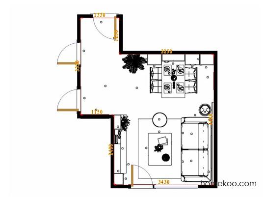 平面布置图米兰剪影客餐厅G17353