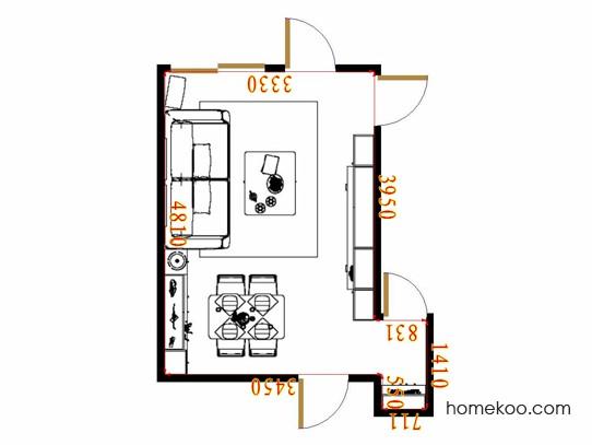 平面布置图米兰剪影客餐厅G17393