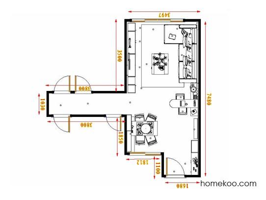 平面布置图柏俪兹系列客餐厅G17434
