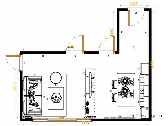 平面布置图柏俪兹系列客餐厅G17468