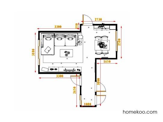平面布置图斯玛特系列客餐厅G17505