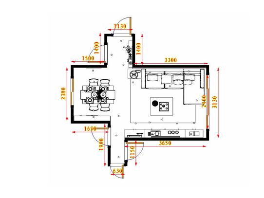 平面布置图斯玛特系列客餐厅G17508