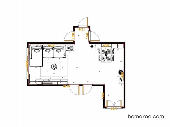 平面布置图米兰剪影客餐厅G17536