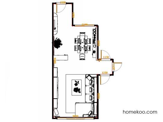 平面布置图米兰剪影客餐厅G17545