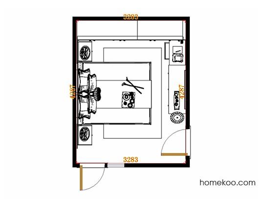 平面布置图斯玛特系列卧房A22118