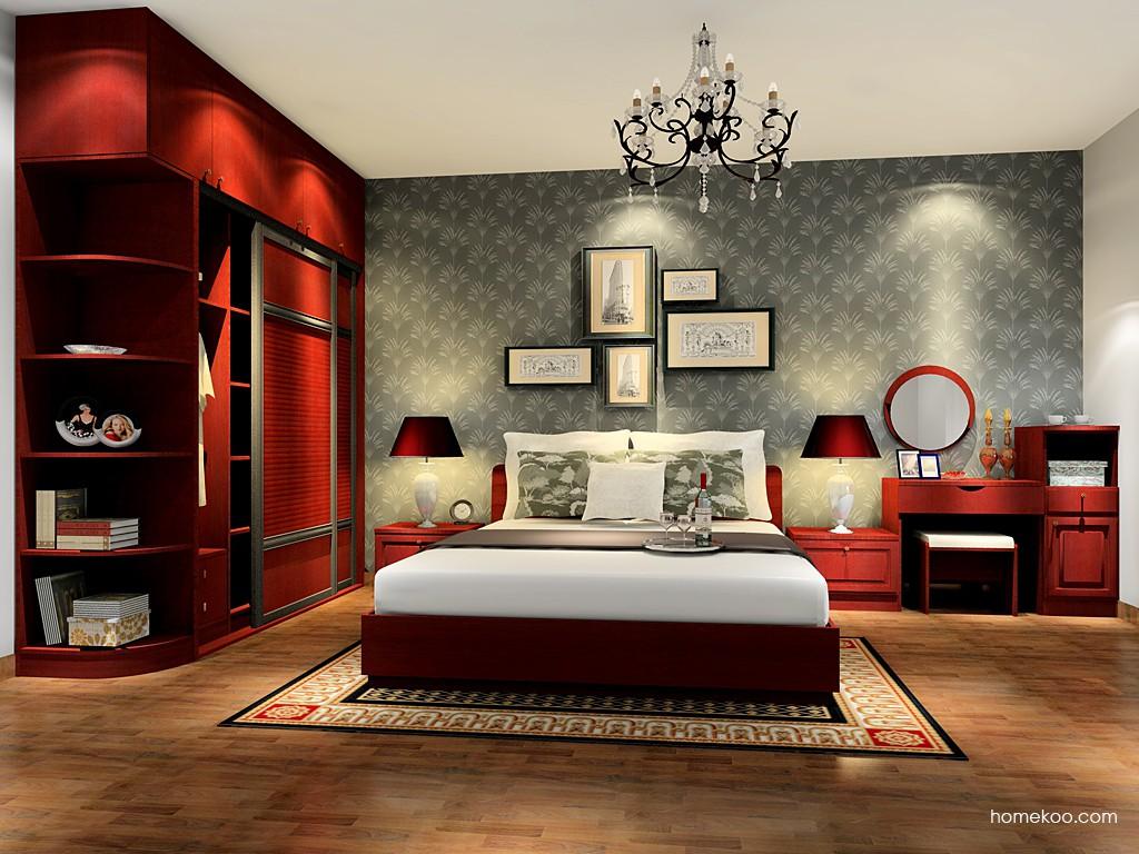 诺曼红影卧房家具A16609