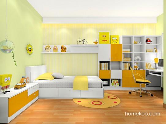 色彩明快带书柜学习桌孩子房设计效果图