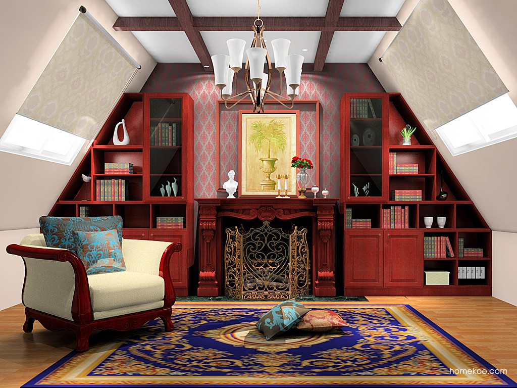 诺曼红影书房家具C19155