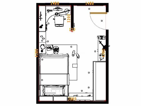 A2二室二厅一卫约88平米户型图
