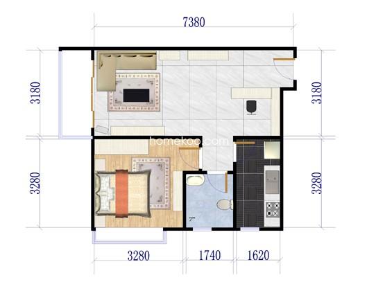 F栋03单元1室2厅1卫1厨59.73�O