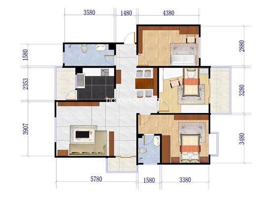 A-13#-023室2厅2卫1厨125.57�O