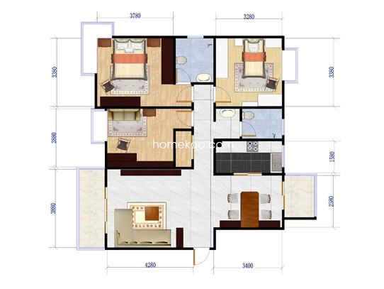 A1户型图3室2厅2卫1厨132.00�O