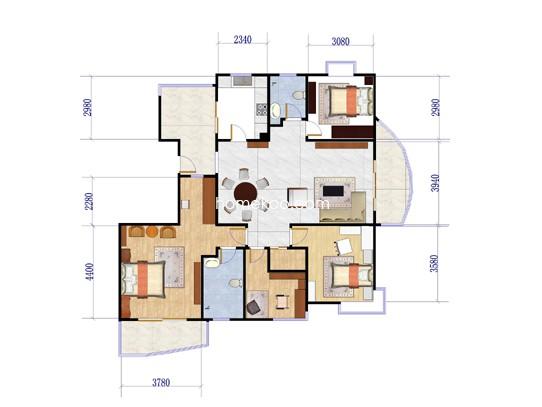 B2户型4室2厅2卫1厨188.00�O