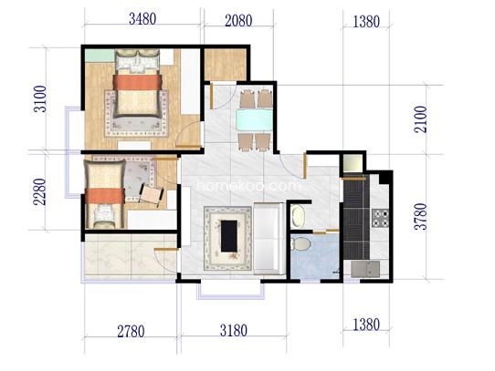 2#02室户型2室2厅1卫1厨80.32�O