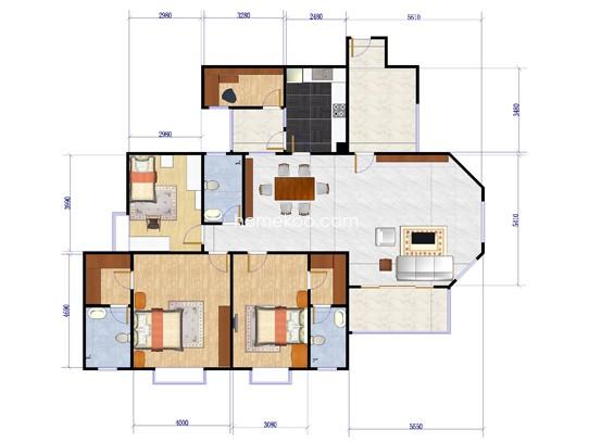 11号楼01单元4室2厅2卫1厨154.65�O