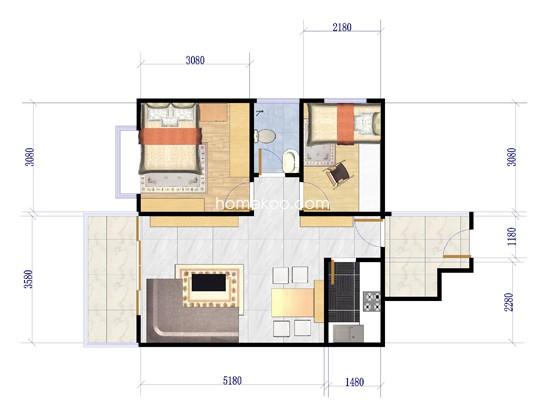 B2户型2室2厅1卫1厨65.18�O