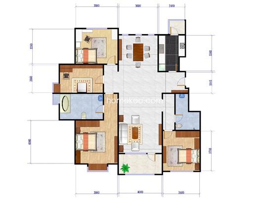 4A户型4室2厅2卫1厨175.00�O
