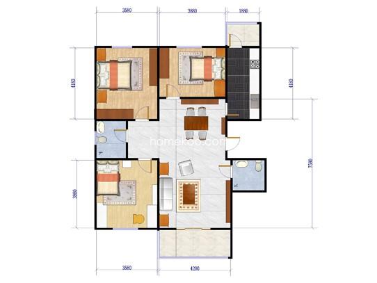 三居户型图3室2厅2卫1厨107.00�O