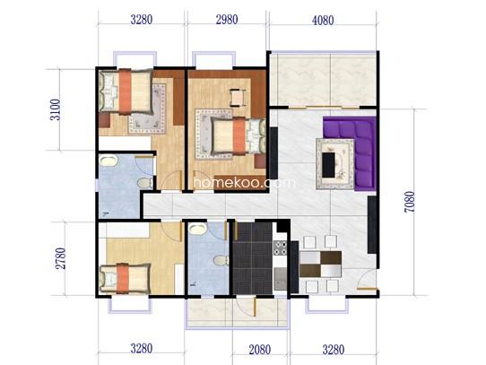 B座03单元3室2厅2卫1厨121.76�O