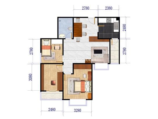 G2三室两厅一卫84.25平米