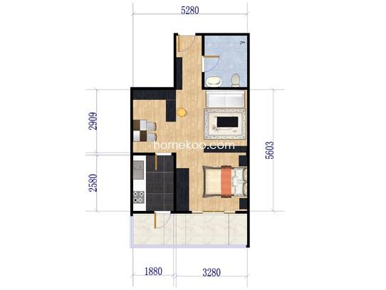 D2一室一厅一卫37.63平米