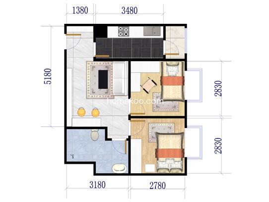 B5两室两厅一卫约56平方米