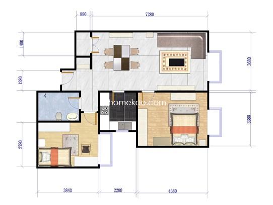 B户型图 2室2厅1卫1厨 91.49�O