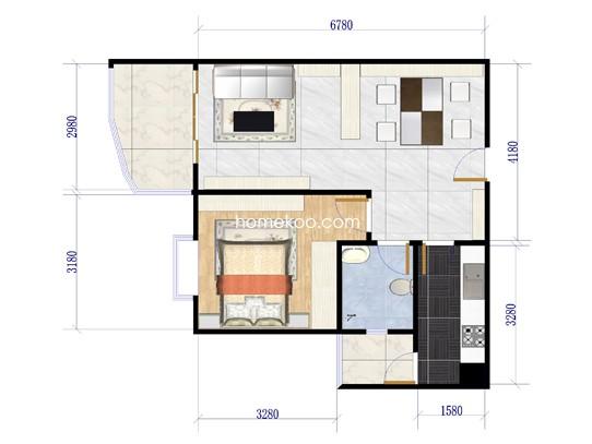 G1栋02单位1室2厅1卫 59.10�O