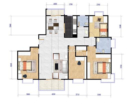 4室2厅2卫 170.00�O