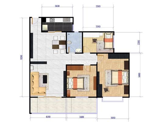 C户型户型图3室2厅1卫1厨 128.53�O