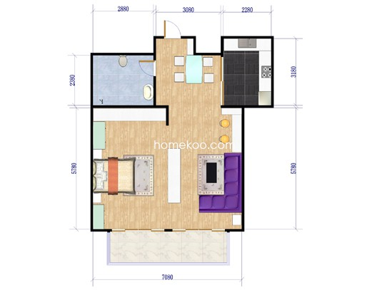 B户型1室1厅1卫1厨 58.10�O