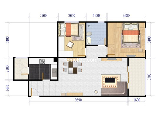 两房两厅一卫户型图