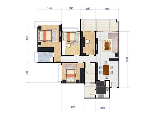 三居 户型图