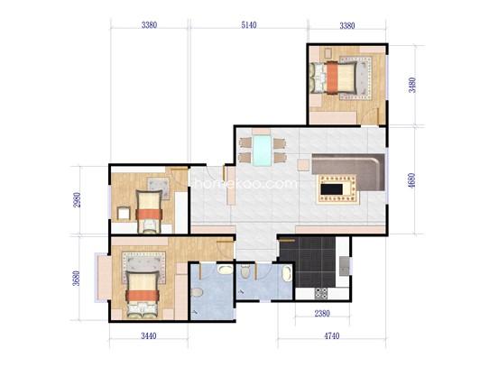 506#H1 3室2厅2卫1厨 125.00�O
