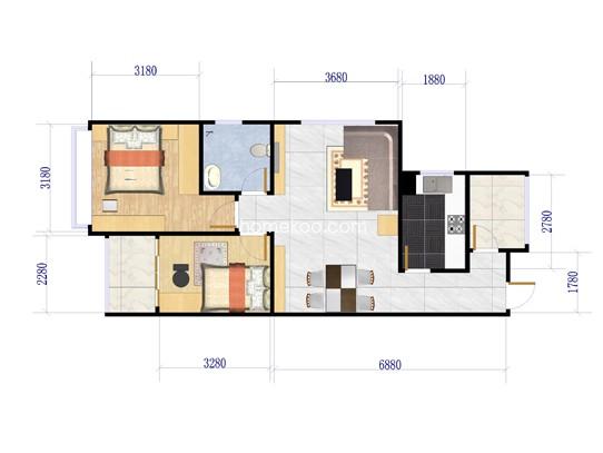 A1户型图2室2厅1卫1厨 89.40�O