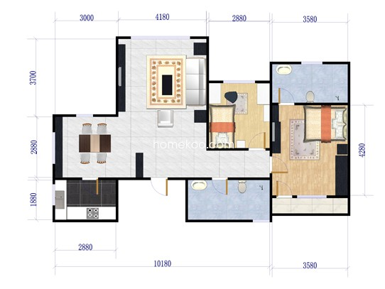 b-a户型图2室2厅2卫1厨 112.00�O