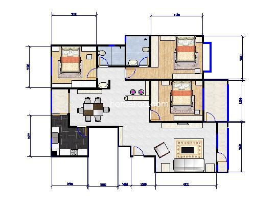 3号楼05单元户型3室2厅2卫 169.00�O