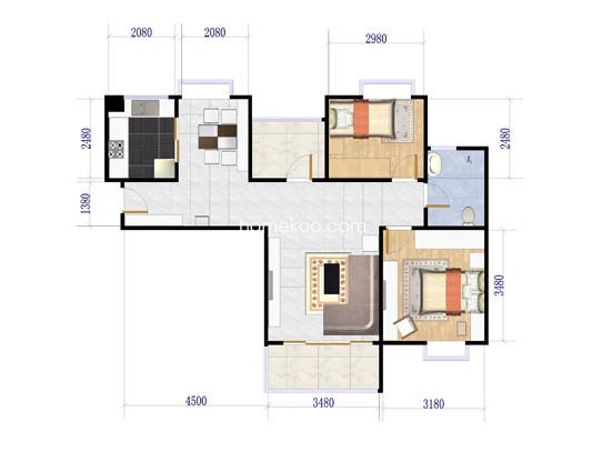 D户型图2室2厅1卫1厨 91.00�O