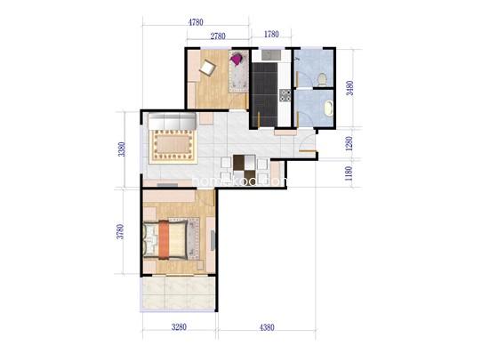 C1户型图2室2厅1卫84.00�O