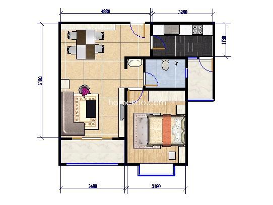 1号楼02户型1室2厅 89.13�O