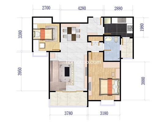 2室2厅1卫1厨 100.45�O