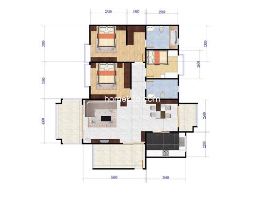 阳光庭院户型图 141�O