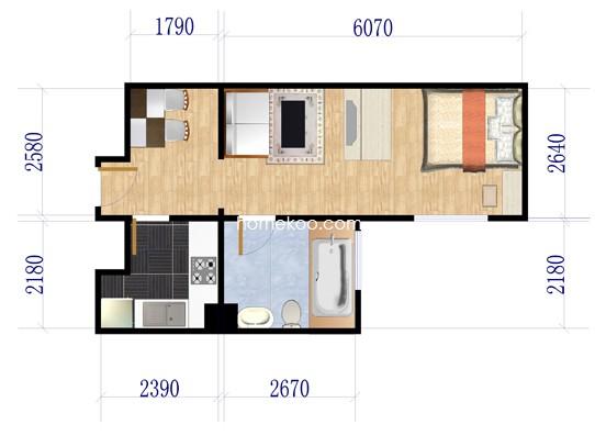 D户型1室1厅1卫1厨 47�O