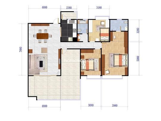26峰J50-03户型3室2厅2卫1厨 200.00�O
