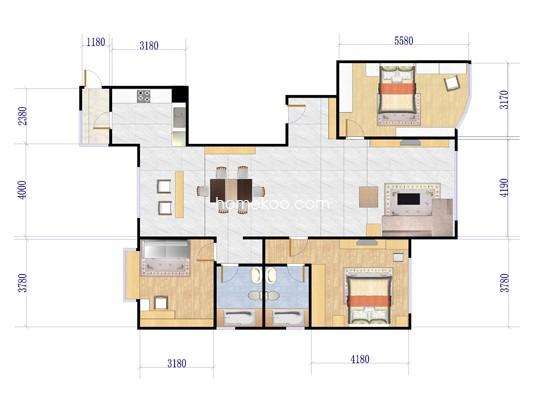 501#A1户型图3室2厅2卫1厨 175�O