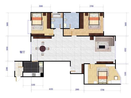 501#A3户型图3室2厅2卫1厨 175�O